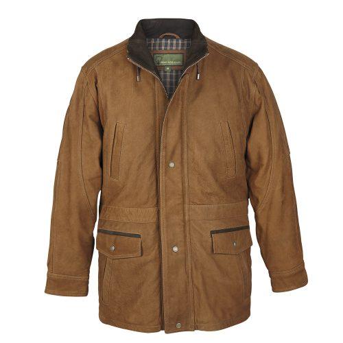 Men's Tan Leather Coat: Walker