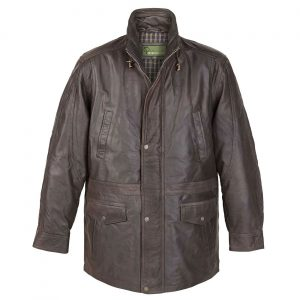 Mens Leather Coat Brown Walker