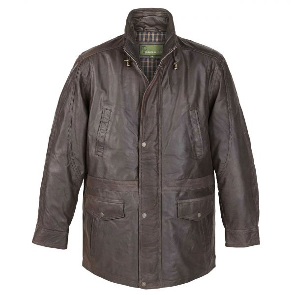 Mens-Leather-Coat-Brown-Walker