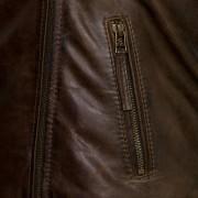 Clara ladies brown leather flying jacket zip detail