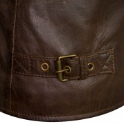 Clara leather brown flying jacket buckle detail
