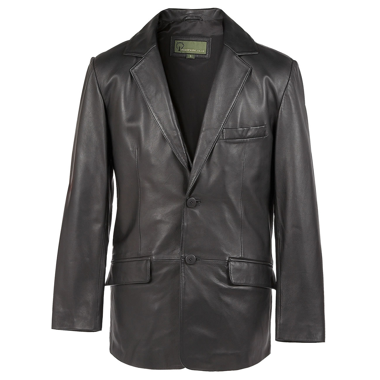 Gents Leather  button blazer black