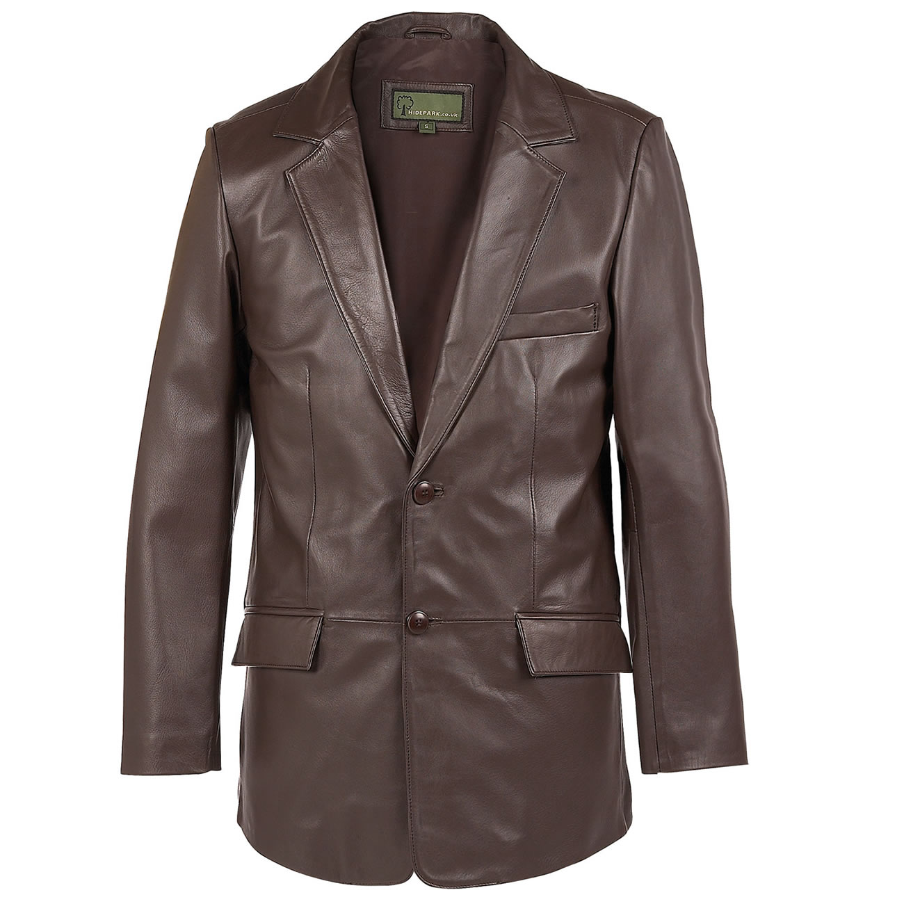Gents Leather  button blazer brown