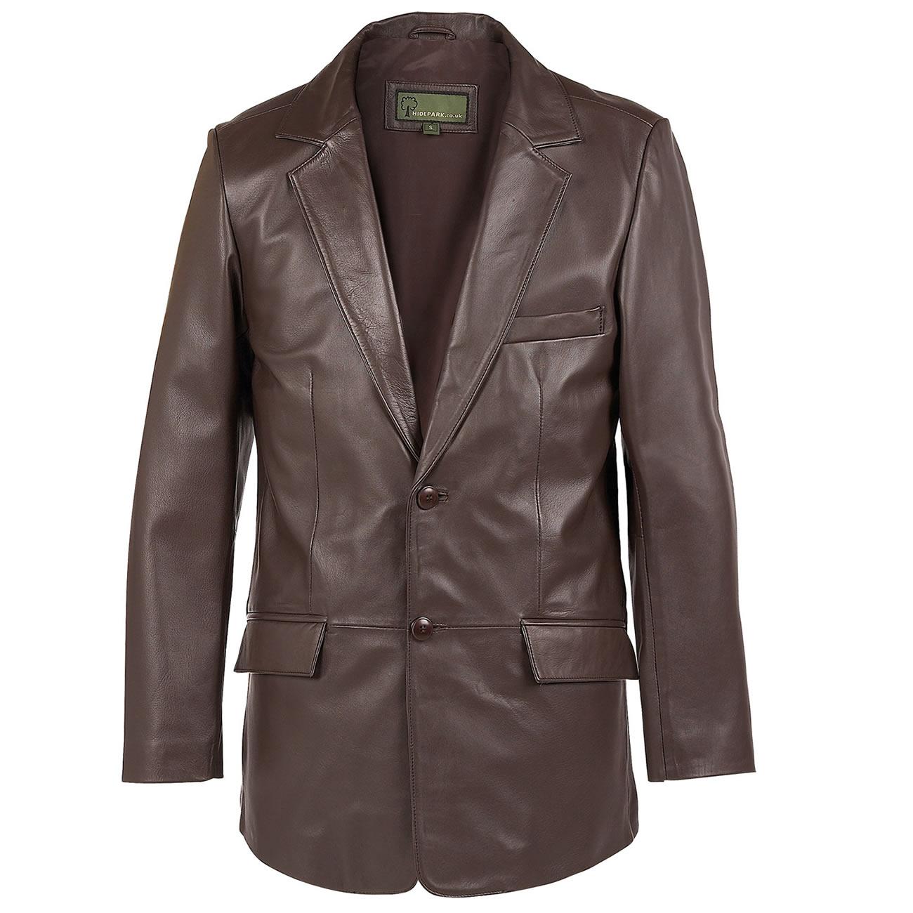 Gents Leather  button blazer brown