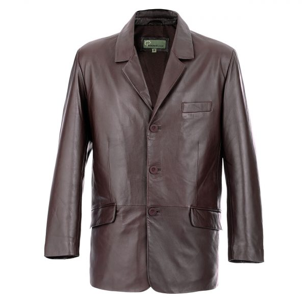Gents-Leather-3-button-blazer-Brown-731