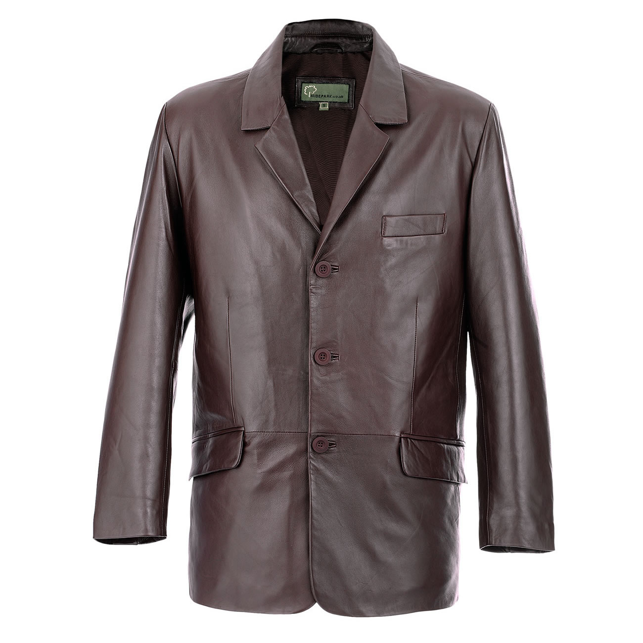men's brown leather blazer