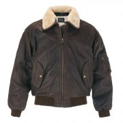 B:Men'sBrownLeatherBomberJacket