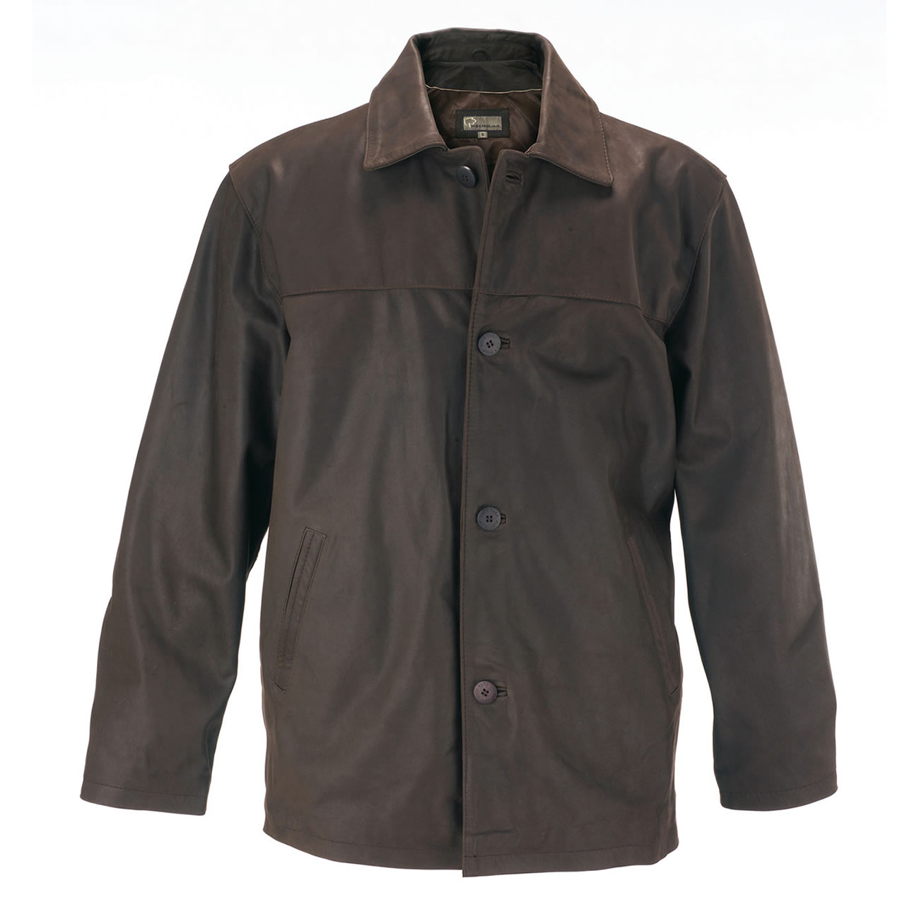 Gents Leather Button Jacket Brown