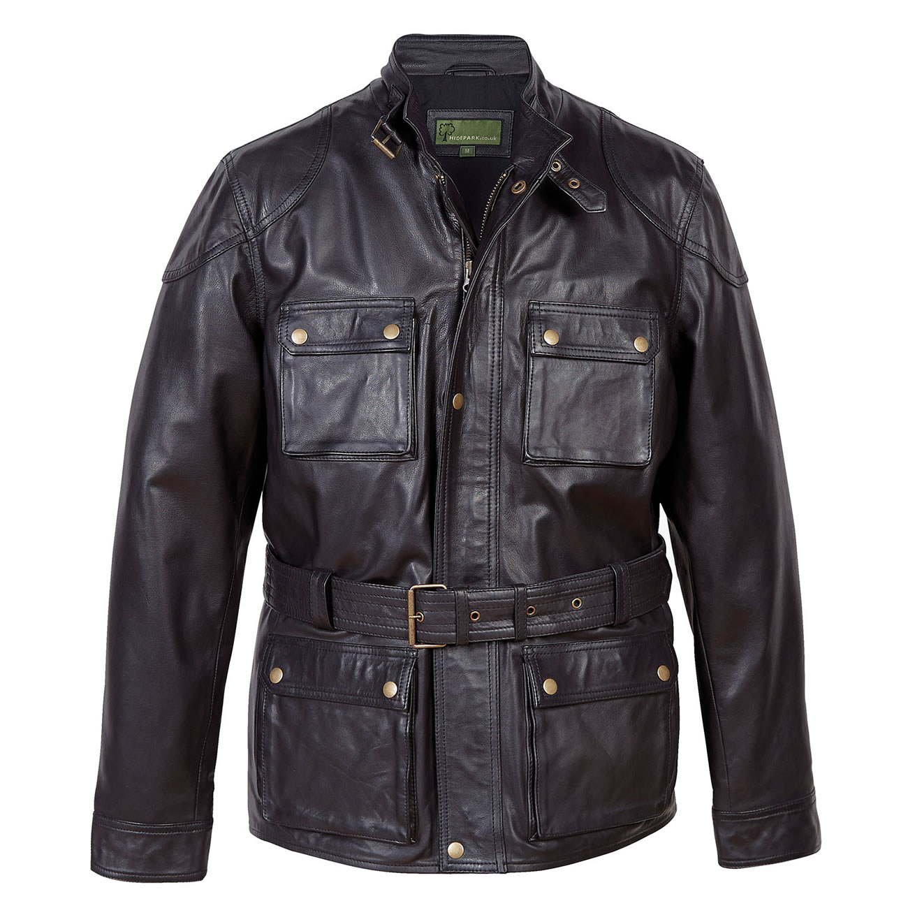 Gents Leather Coat Black Trent