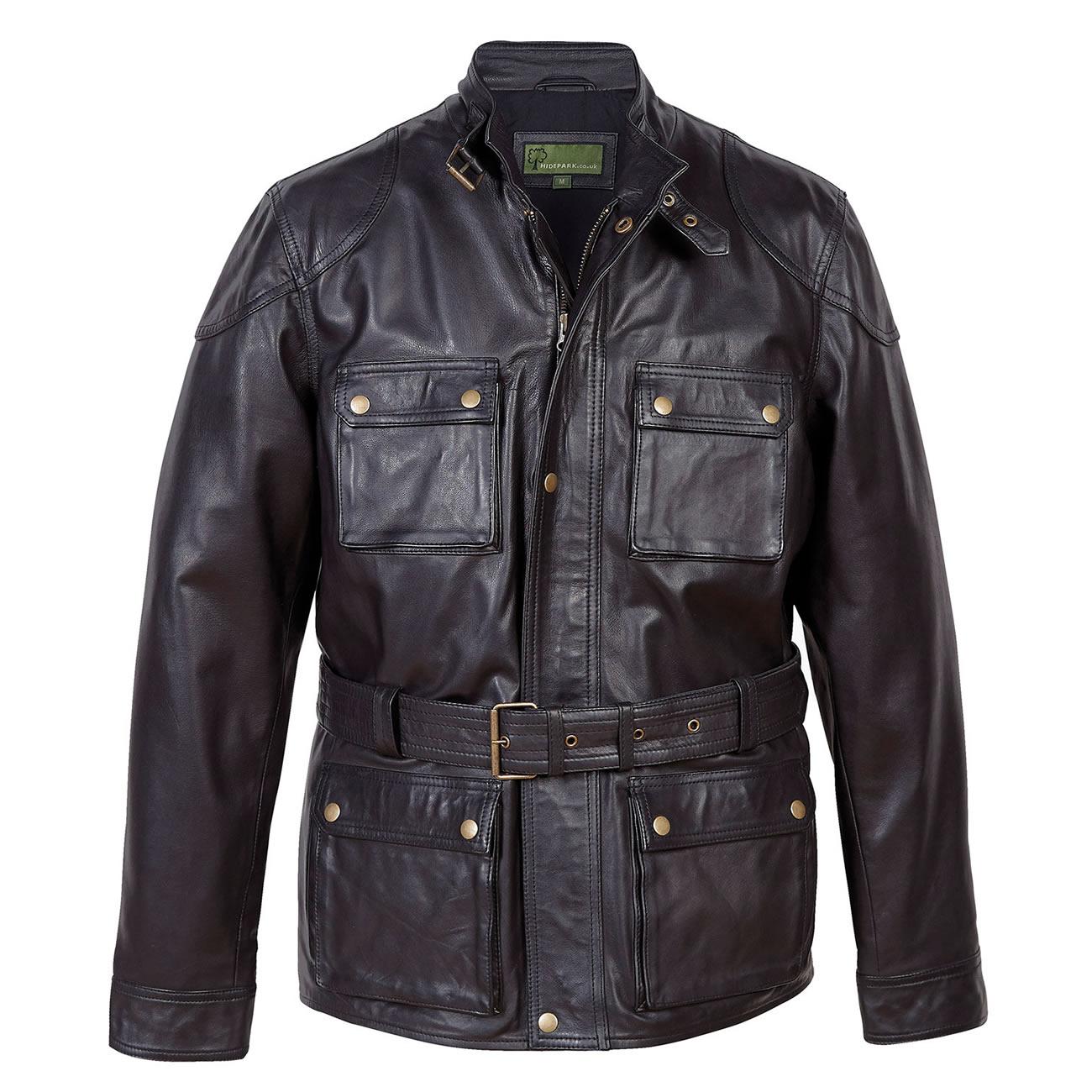 Gents Leather Coat Black Trent