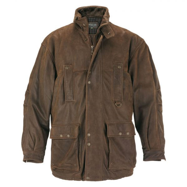 Gents-Leather-Coat-Brown-Hunter