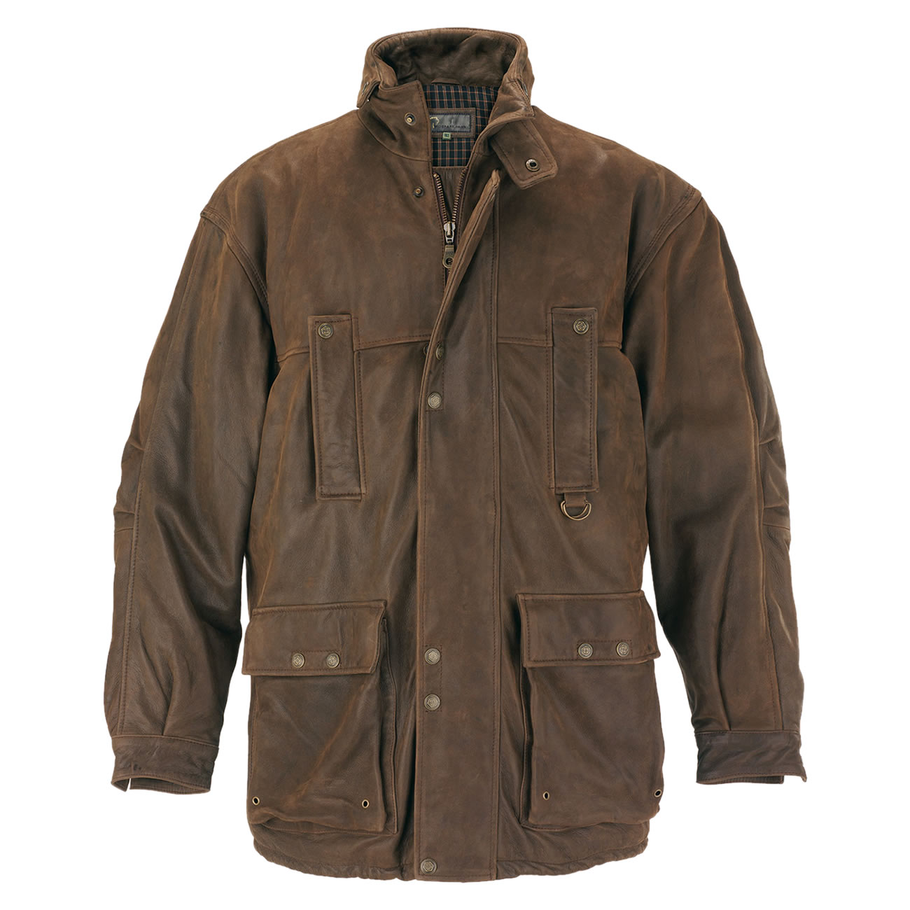 Gents Leather Coat Brown Hunter