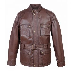 Trent gents leather coat in brown