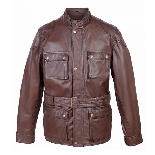 Trent gents leather coat in brown