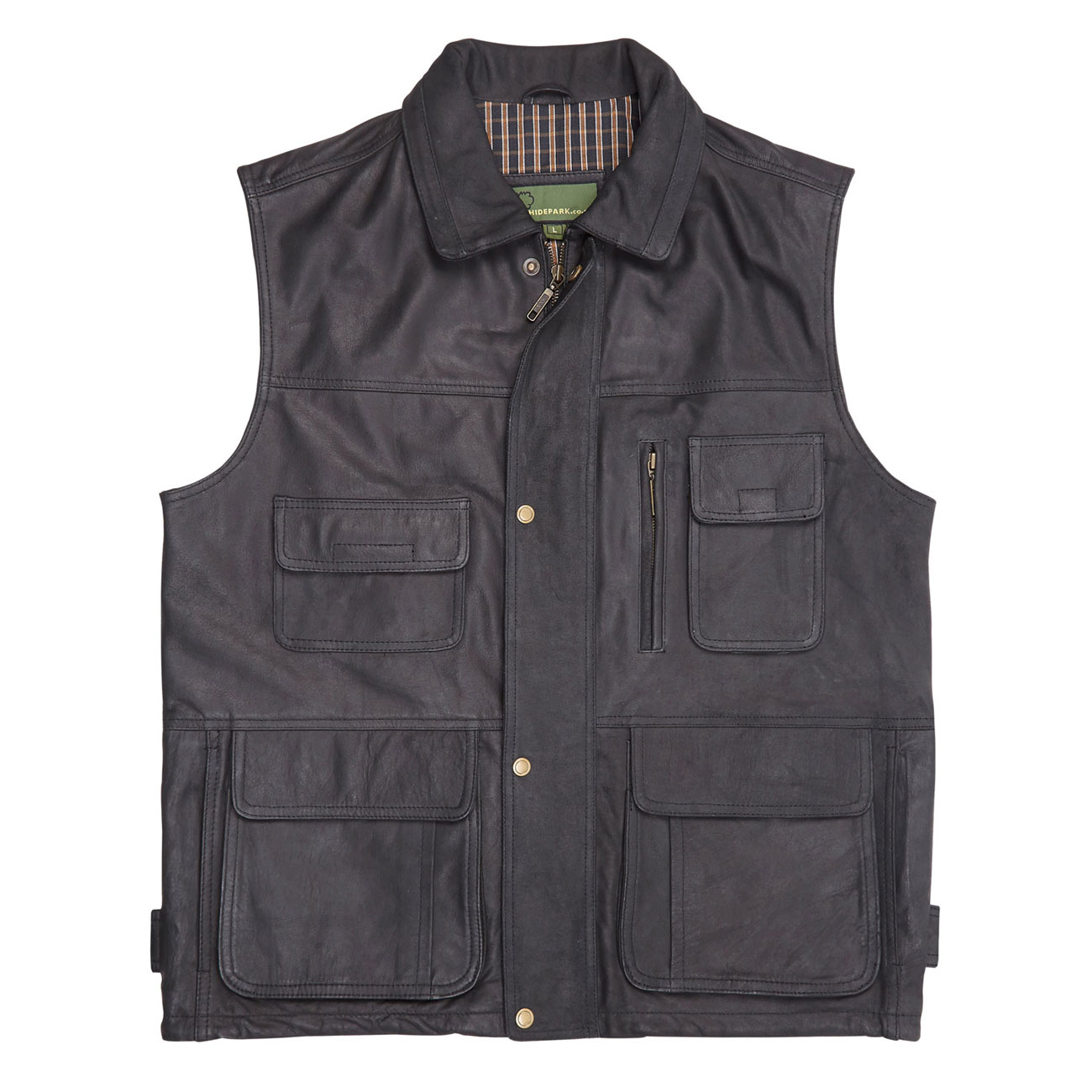 Gents Leather Gilet Black Alf