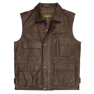 Gents Leather Gilet Brown Alf