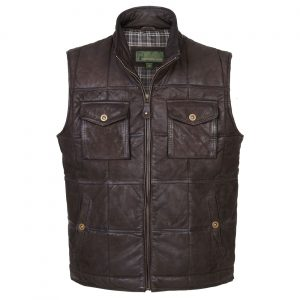 Gents Leather Gilet Brown Monty