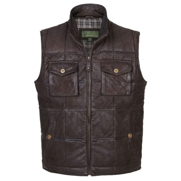 Gents-Leather-Gilet–Brown-Monty