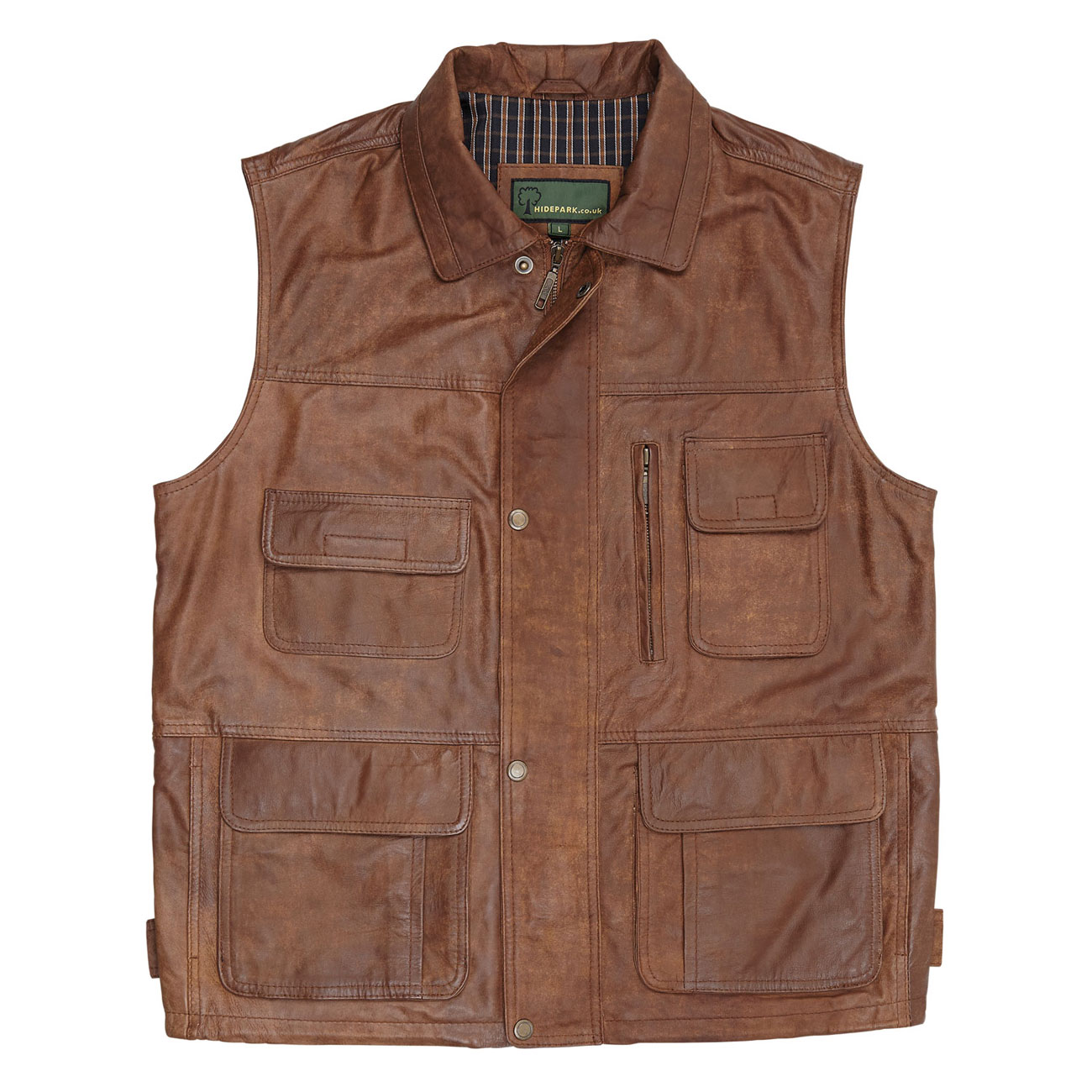 Gents Leather Gilet Tan Alf