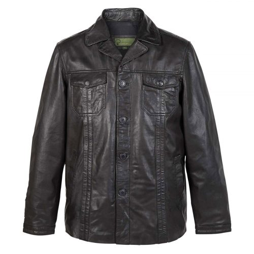 Gents Leather Jacket Black Adam