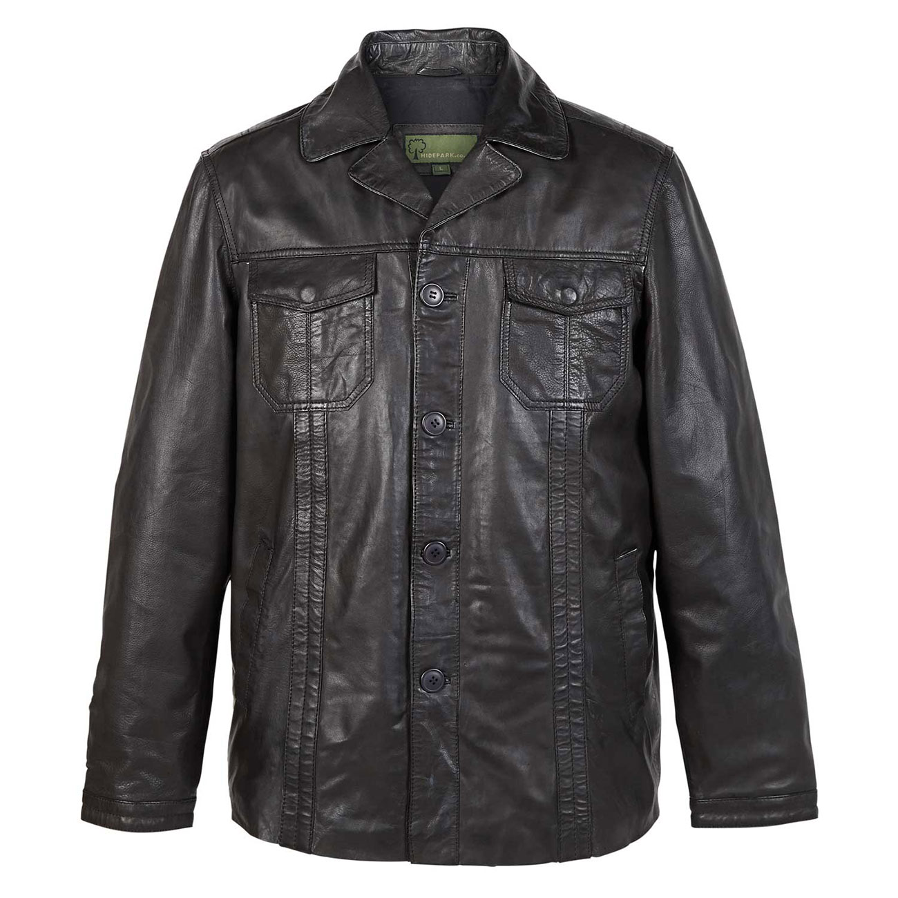 Gents Leather Jacket Black Adam