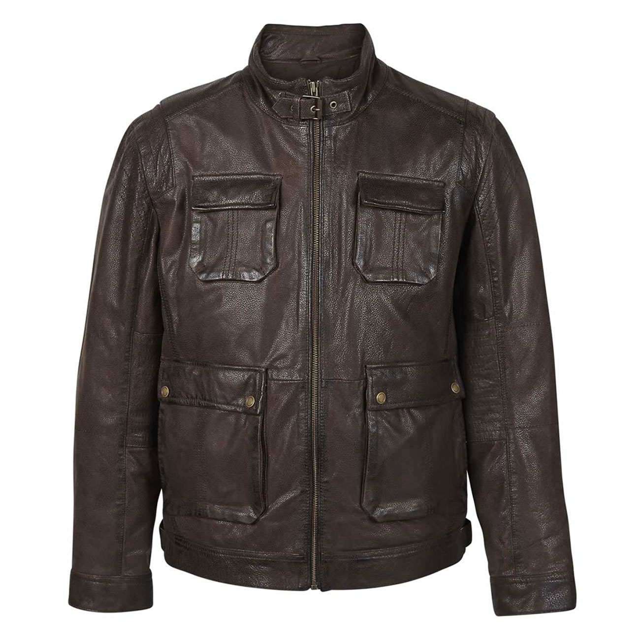 Gents Leather Jacket Brown Franco