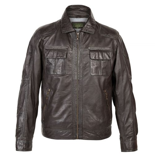 Gents Leather Jacket Brown Sam