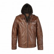 Gents Leather Jacket Rust with hood Mason