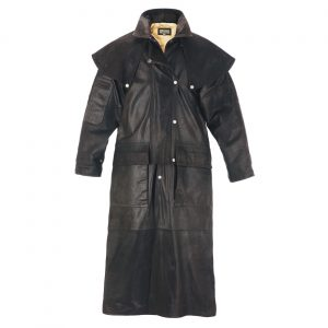 Gents Long Leather Riding Coat Brown