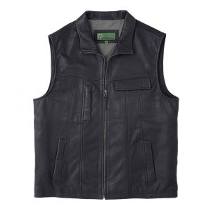 Gents Leather Vest Black Stan
