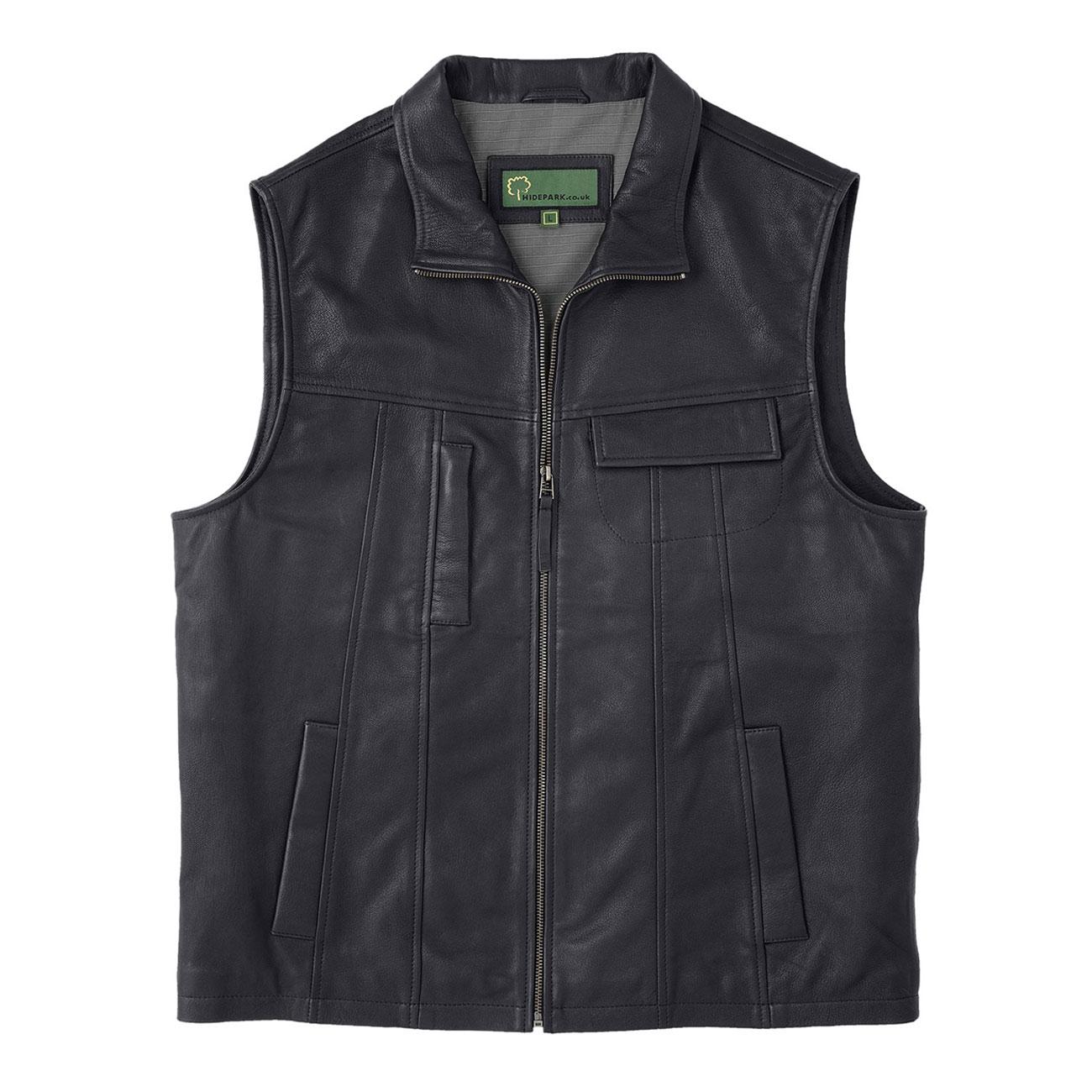 Gents Leather Vest Black Stan