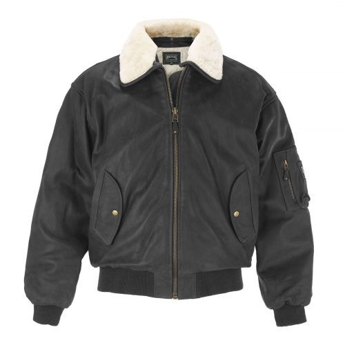 B:Men'sBlackLeatherBomberJacket