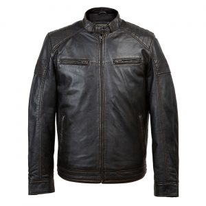 Budd: Men's Black Antique Leather Jacket