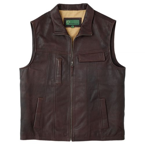 Gents Leather vest Brown Stan