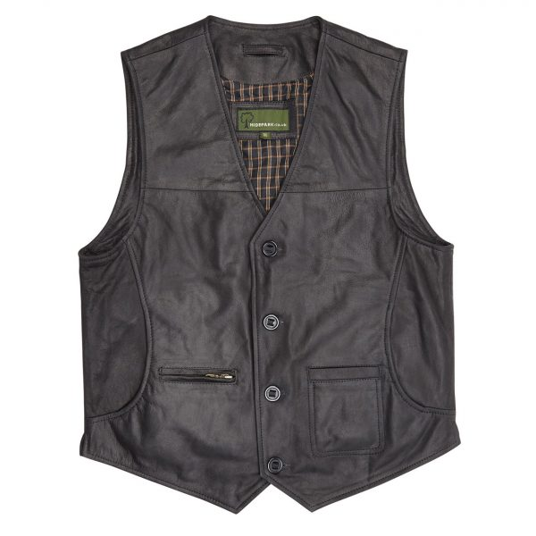 Gents-Leather-waistcoat-Black-Rico