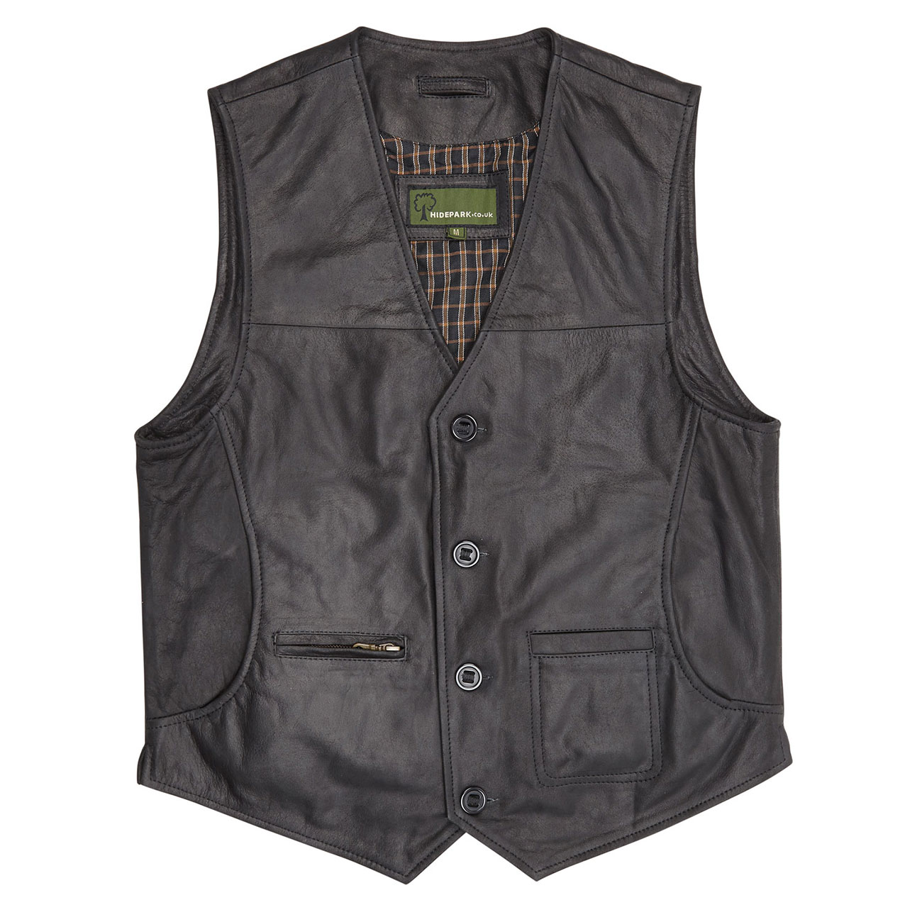 Gents Leather waistcoat Black Rico