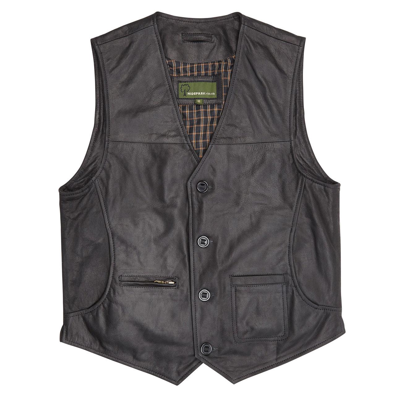 Gents Leather waistcoat Black Rico