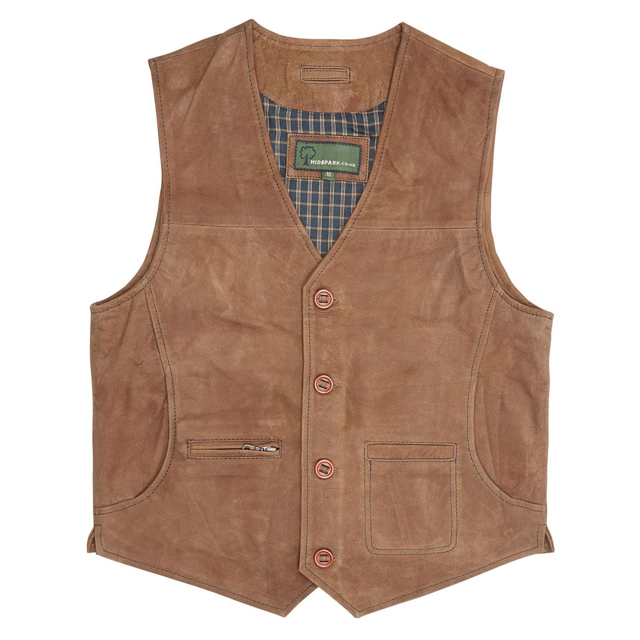 Gents Leather waistcoat Tan Rico