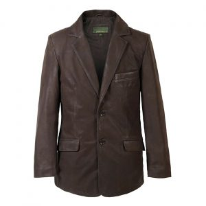 Gents Nubuck Leather Blazer Brown