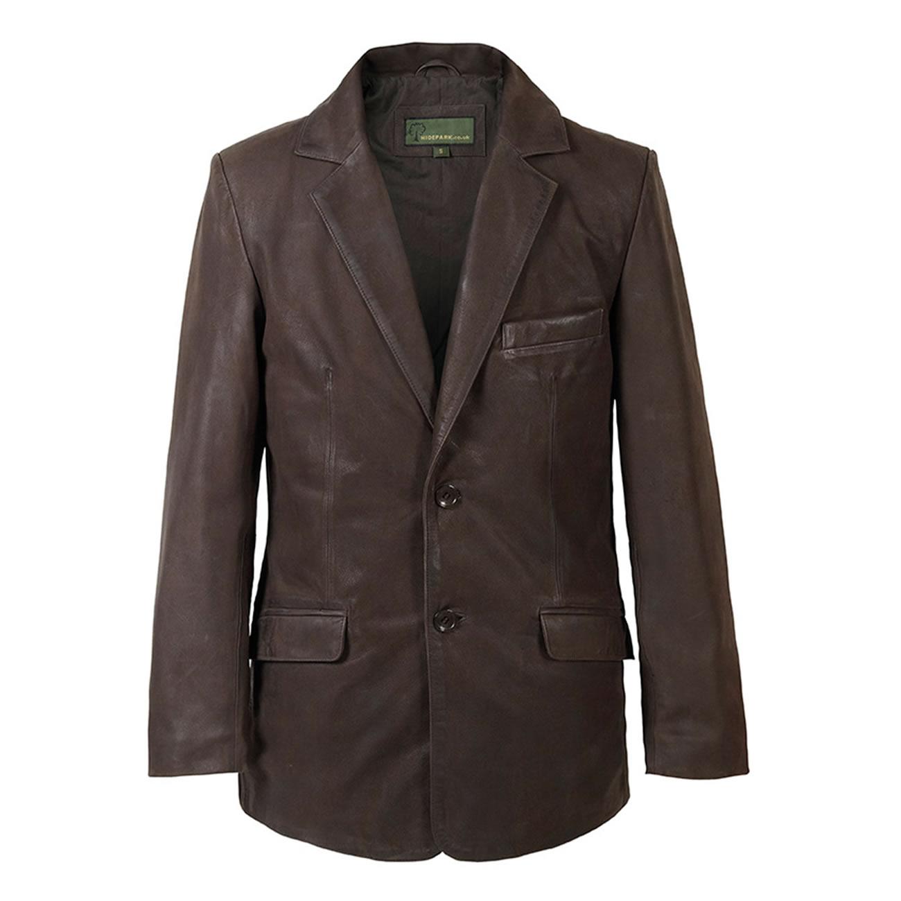 Gents Nubuck Leather Blazer Brown
