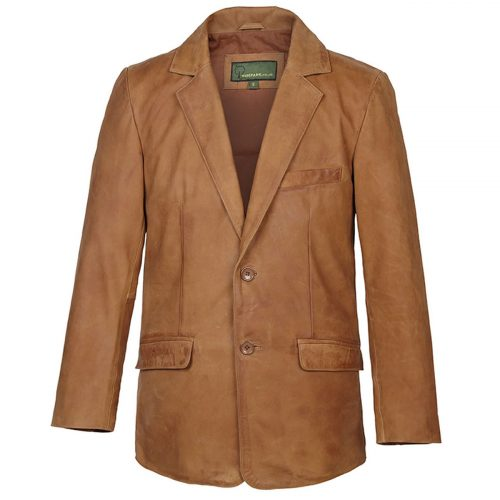 Gents Nubuck Leather Blazer Tan