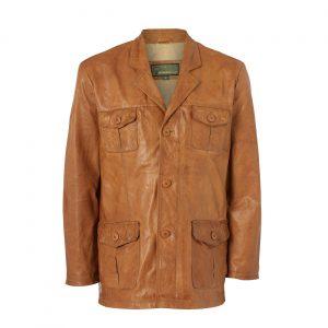 Gents Safari Leather jacket Tan Hank