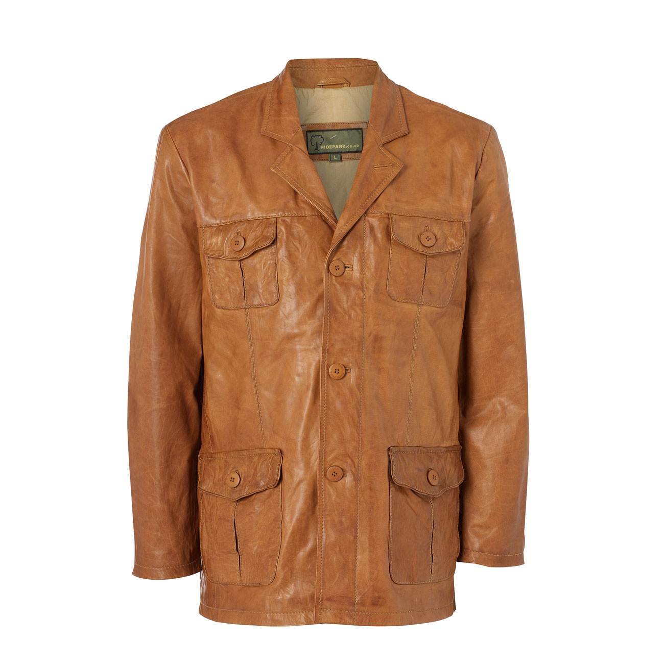 Gents Safari Leather jacket Tan Hank