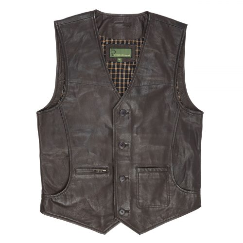Gents all Leather waistcoat Brown Rico