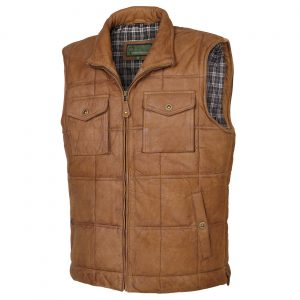 Gents leather bodywarmer Tan Monty