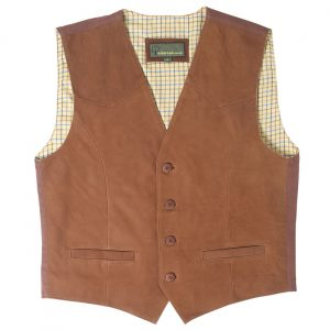Gents leather waistcoat Tan