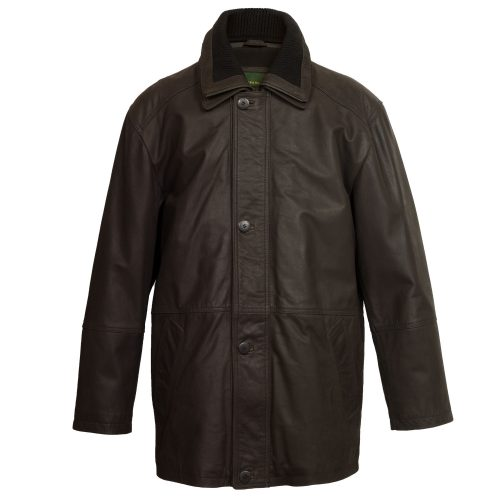 gents long leather brown coat