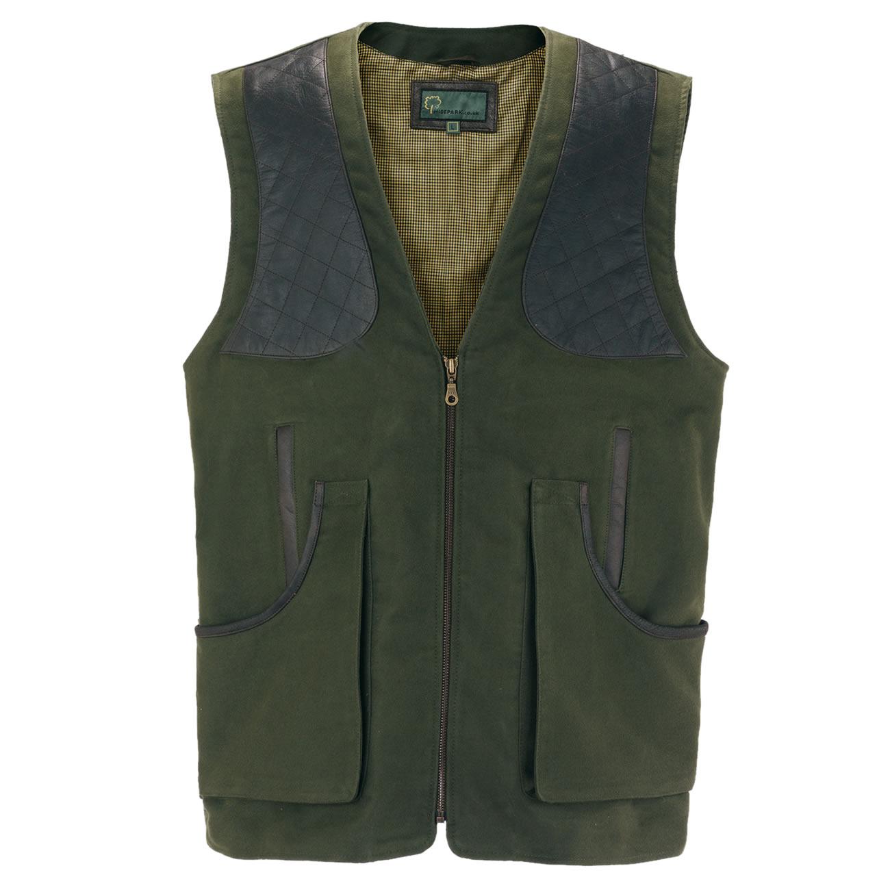 Gents moleskin shooting vest green M
