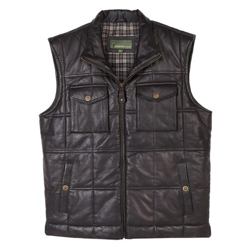 Gents padded Leather Gilet Monty Black