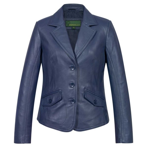 Ladies Blue leather Blazer Jess